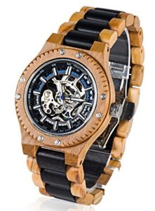 BEDATE Mens Vintage Wooden Automatic Mechanical Skeleton Sport Watch